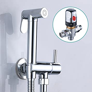 Hotbestus Thermostatic Toilet Bidet Sprayer Set Handheld Shattaf With Hot And Cold Mixing Valve Chrome Scald Prevention Bidet Attachments Amazon Canada