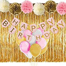 Pink and Gold Birthday Decorations with Banner Balloons Tissue Flowers Fringe Curtain for Girls 1st Birthday Party