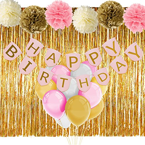 Pink and Gold Birthday Decorations with Banner Balloons Tissue Flowers Fringe Curtain for Girls 1st Birthday -