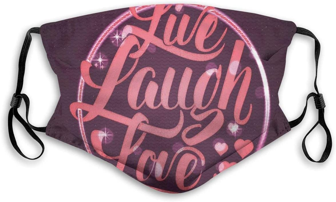 "Maske mit ""Live-Laugh-Love""-Spruch"