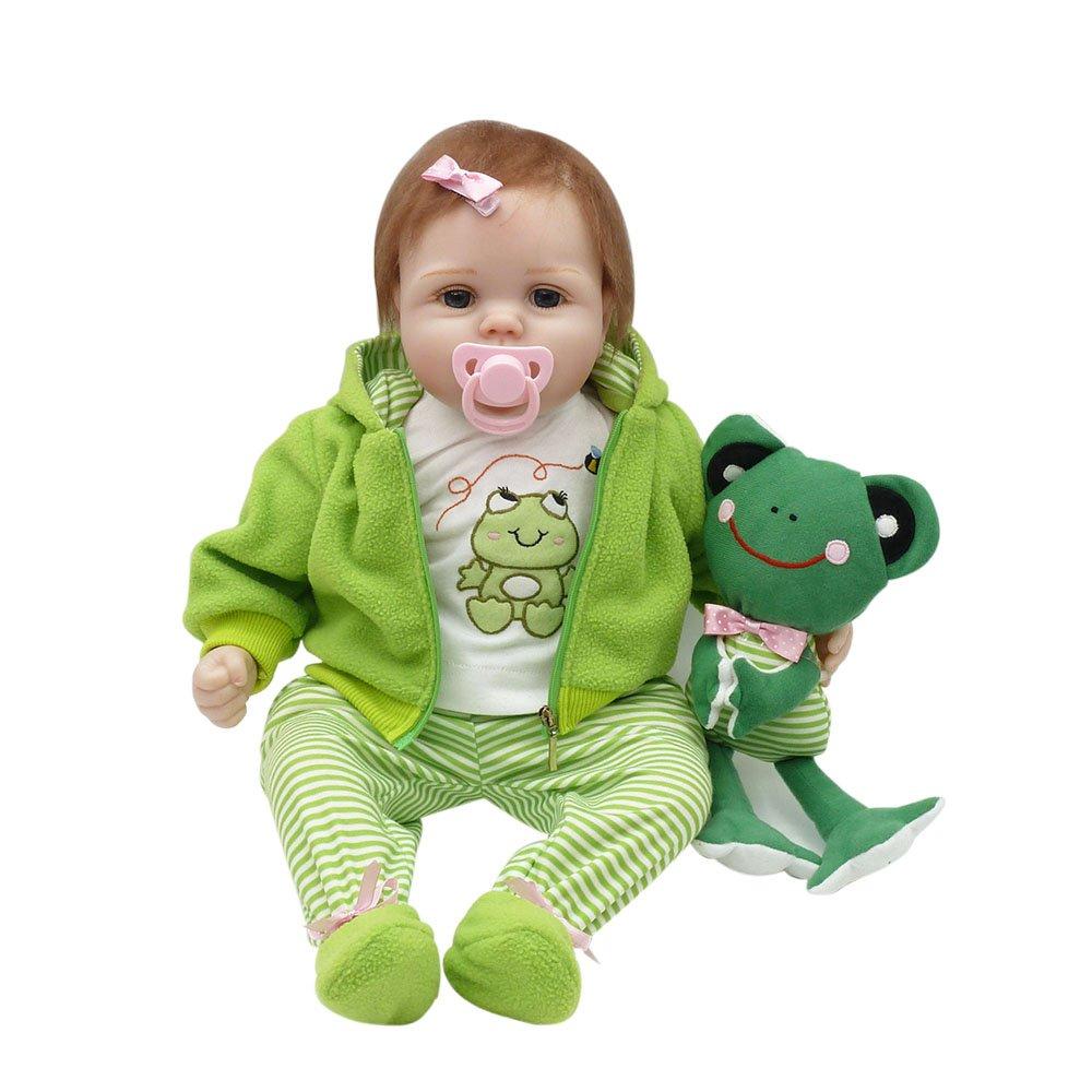 Decdeal 22inch muñeca de reborn Rana linda,Regalo de niños,Material de tela Cuerpo