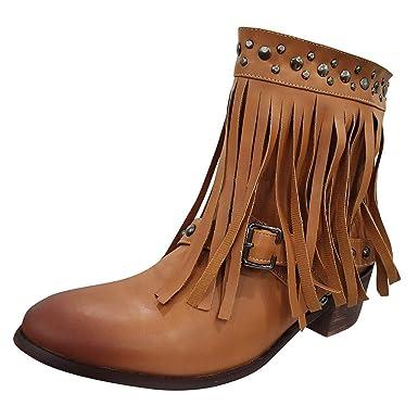 Amazon.com: ♫ Loosebee ♫ Botas de mujer vintage con borla ...