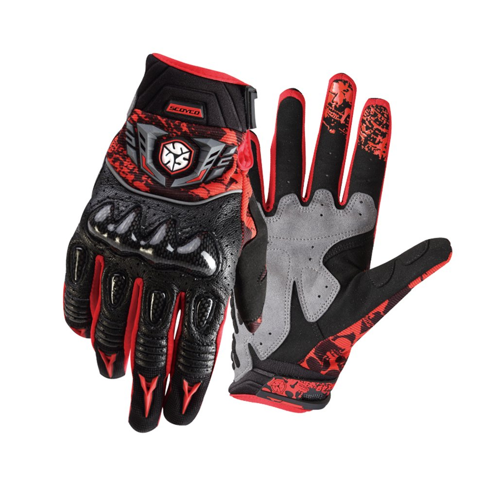 SCOYCO Leather Motorcycle Gloves,Full Finger,Sheepskin,Breathable,Wear-resisting Motorbike Glove for Street Powersports
