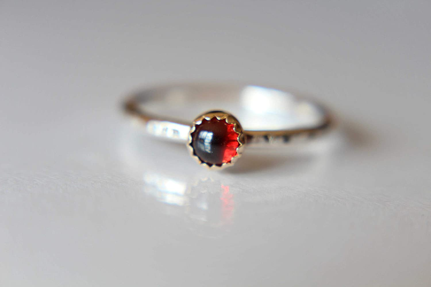Gift for women Valentines day gift Handmade Sterling Silver stacking ring with garnet gemstone