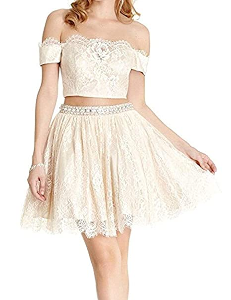 3dc2fbf4d3 Aurora Bridal Womens Lace 2 Piece Homecoming Dresses 2018 Short Prom Gown  AH097 at Amazon Women s Clothing store