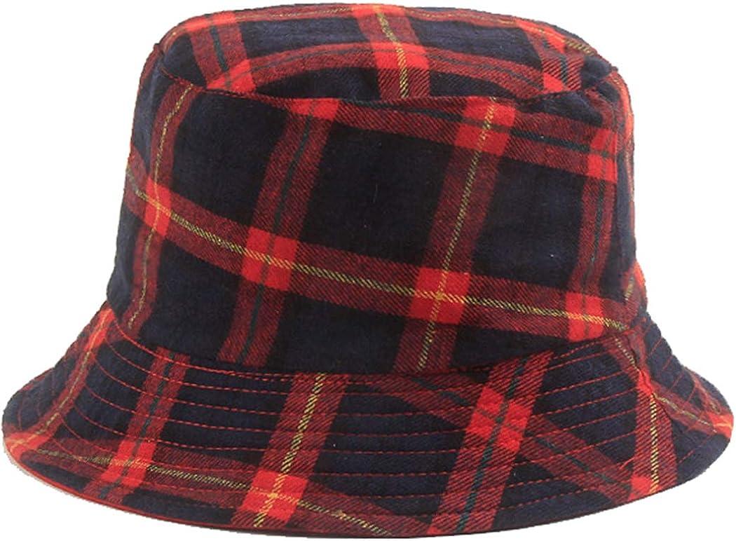 Plaid Bucket Hats Women...