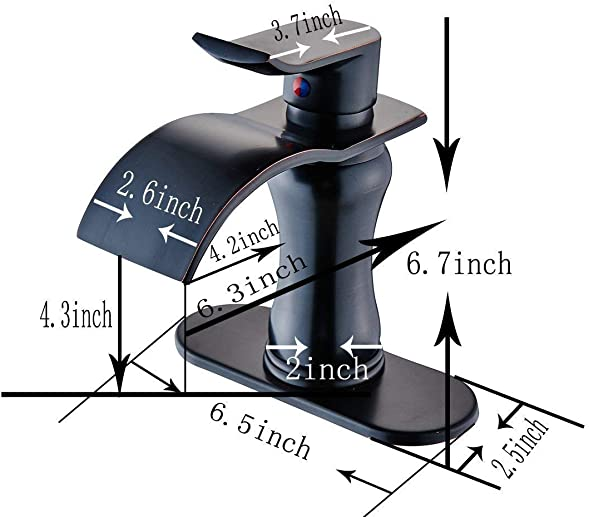 Bathfinesse Waterfall Oil Rubbed Bronze Commercial Bathroom Sink Faucet Deck Mount One Hole Lavatory Faucets ORB Bathroom Faucet Single Handle Basin Sink Mixer Tap