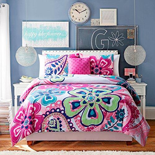 5 Pc Twin Bedding Set Girls Comforter Set Hot Pink