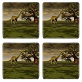 Luxlady Square Coasters IMAGE ID 3926746 Prehistoric World