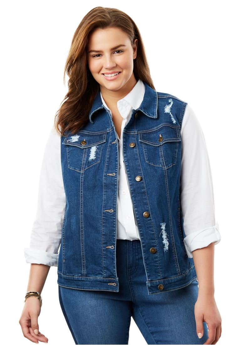 Women's Plus Size Stretch Jean Vest by Woman Within (Image #1)
