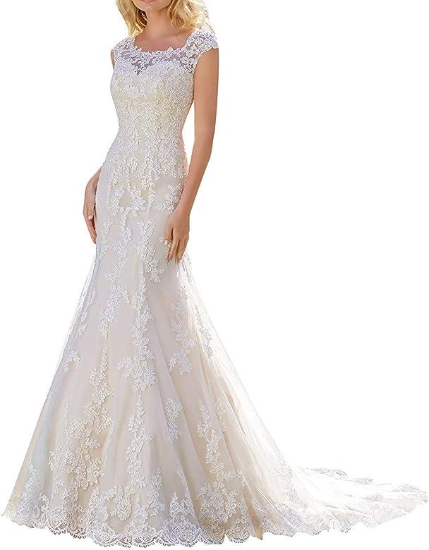 Vkstar Robe Sirene Femme Soiree Longue Robe De Mariee Dentelle Fleurs Robe Mariage Femme Elegante Col Bateau Blanc 32 Amazon Fr Vetements Et Accessoires