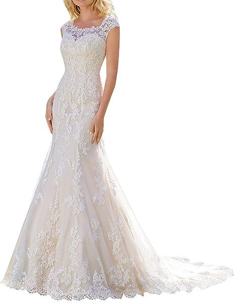 1cc9bc504989 JAEDEN Abiti da sposa Abito nuziale Sirena Lungo Vestito da sposa Donna Pizzo  Abito da sera  Amazon.it  Abbigliamento