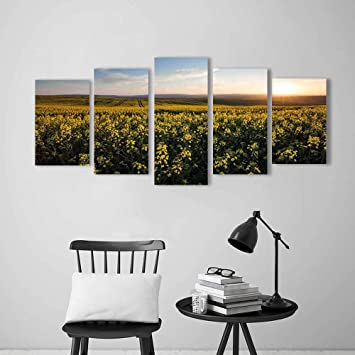 Elegant Wulian Gemälde Kombination Von Dekorativem Rahmenlosem Ausblick  Sonnenuntergang Blumenfeld Frühling Landhaus Landhaus Idyllische Landschaft  Gelb Grün Blau ...