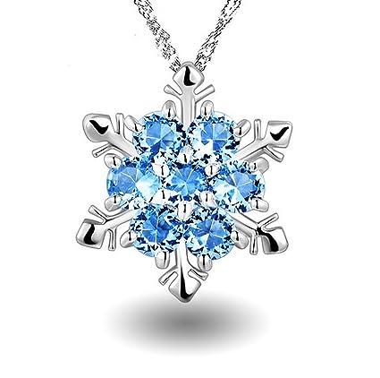 Un Cadeau De Noel Pour Mon Cheri.Leisialtm Collier De Flocon De Neige Filles Bleu Cubique