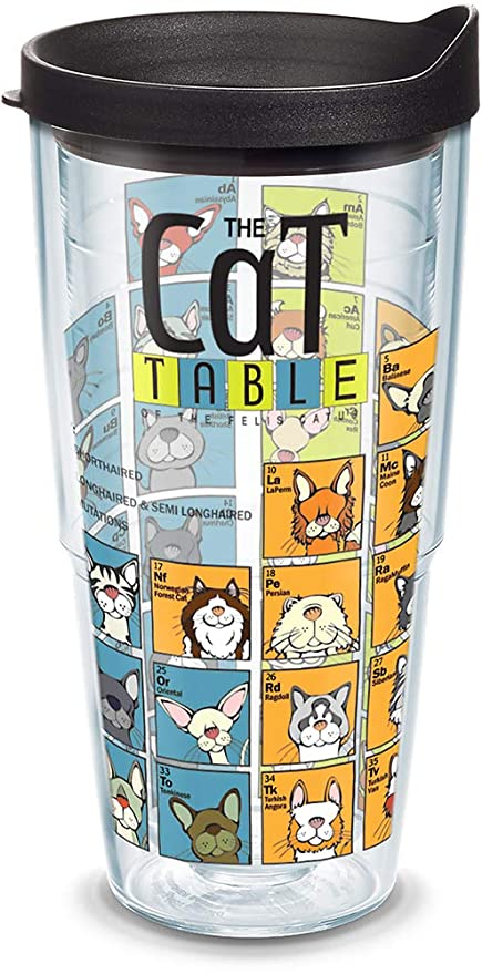 6e78092203c Amazon.com: Tervis 1090084 Cat Periodic Table Insulated Tumbler with Wrap  and Black Lid 24oz Clear: Kitchen & Dining