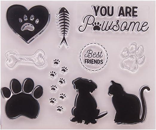 KOFUN DIY Scrapbooking Transparent Stamps Silicone Rubber Clear Sheet DIY Card Gift Crafts Dog Cat