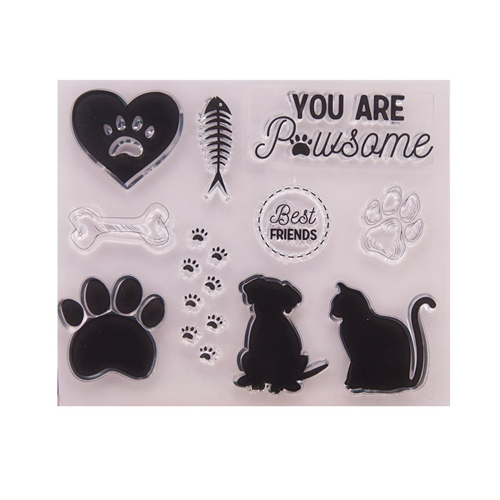 EAPTS Dog Cat Clear Silicone Seal Stamp for DIY Album Scrapbooking Photo Card Decor