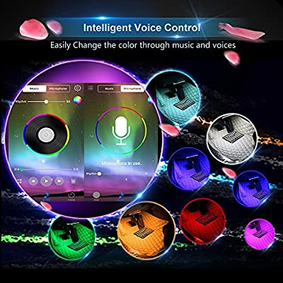 wsiiroon Car LED Strip Light, Newest Style App Controller Car Interior Lights, Brighter LED Lamps, Infinite DIY Colors with Sound Active Function for iPhone Android Smart Phone(DC 12V): Automotive