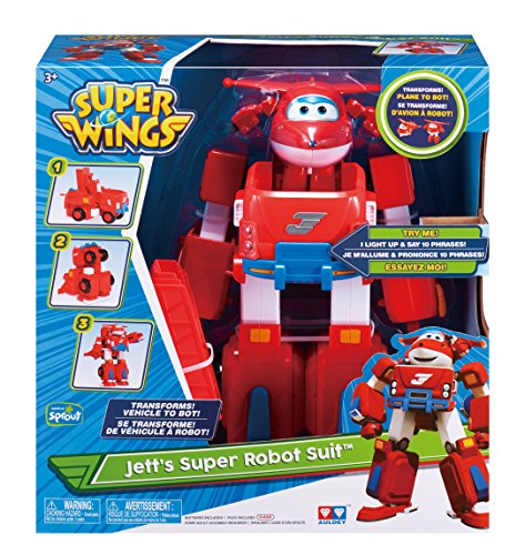 Super Wings - Jett's Super Robot Suit Large Transforming Toy Vehicle | Includes Jett | 5'' Scale by Super Wings - (Image #5)