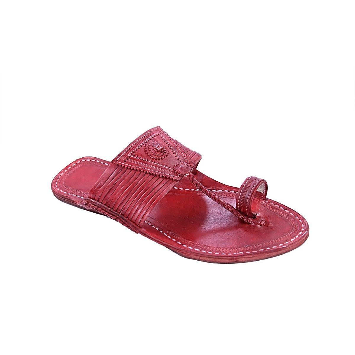 Kolhapuri Chappal - Sandalias de Vestir para Hombre Rojo Rojo Cereza 41.5 EU