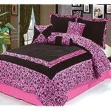 Dovedote 7 Piece Safarina Zebra Animal Print Comforter Set, Queen, Pink