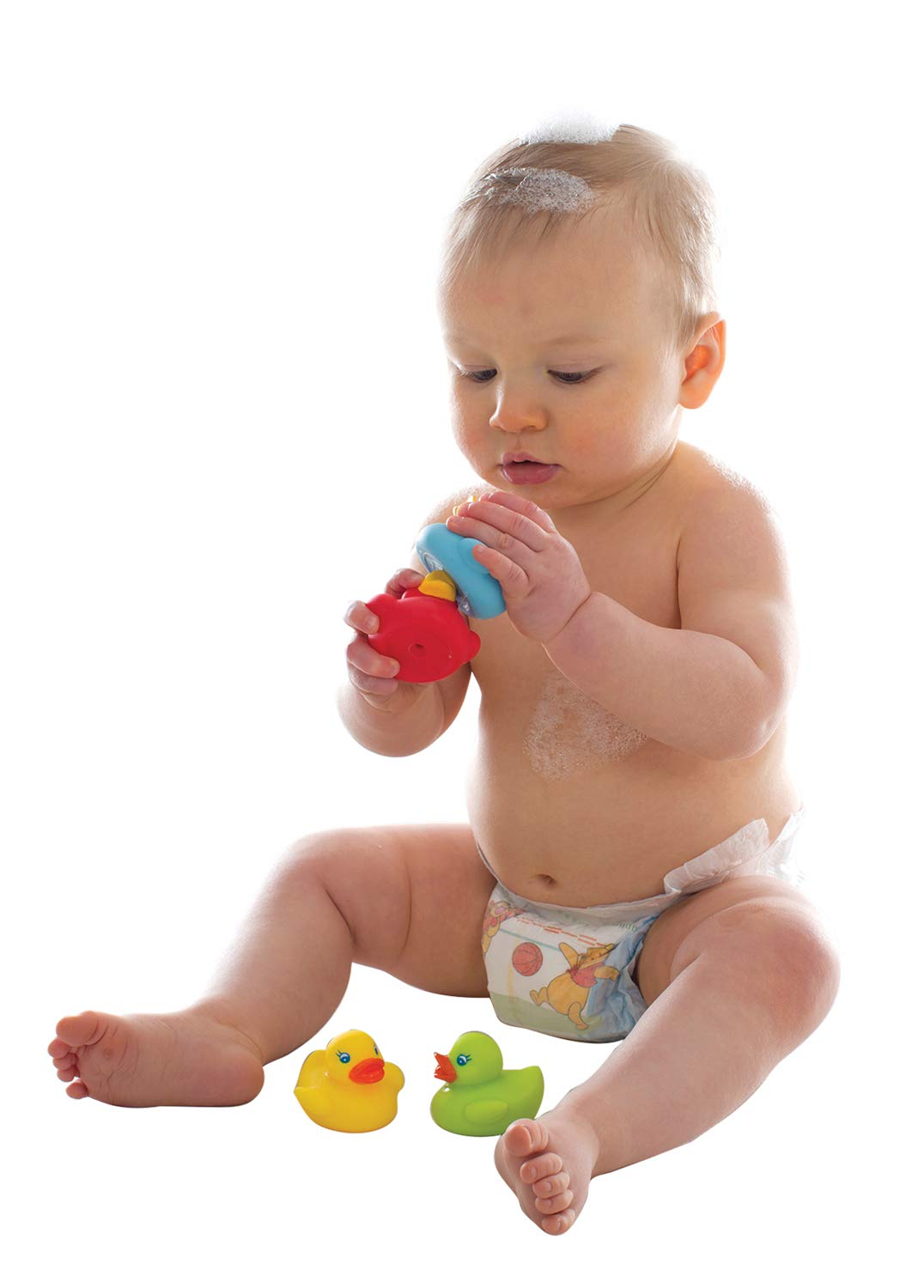 Playgro Mini-Ducks for The Bath Fully Sealed Colourful Ideal for Babys Bath 4 Pieces BPA Free 40212 from 6 Months Water and Dirt Resistant