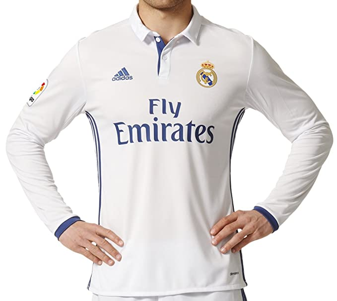 adidas Mens Real Madrid Long Sleeve Home Soccer Jersey 2016/17 (X ...