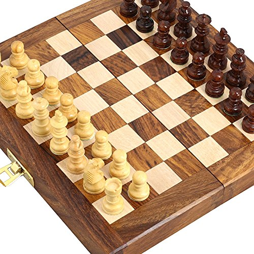 """Handcrafted Wooden Folding Magnetic Chess Set - Wood Travel Games - 7"""" x 3.5"""" - Great Gifts for Kids and Adults"""
