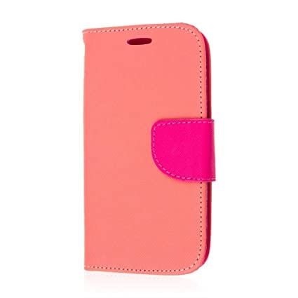 reputable site c2fd6 f83c3 MPERO Samsung Galaxy Avant Wallet Case, [Flex Flip 2] Stand Cover with Card  Slots and Wrist Strap (Pink/Hot Pink)