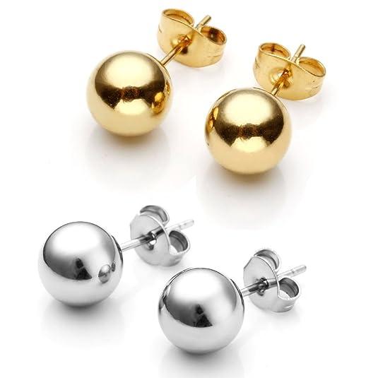 Zysta 4-10pcs Stainless Steel Mens Womens Ball Stud Earrings for Women Round 3-8mm, Hypoallergenic, Nickel-free, Lead-free