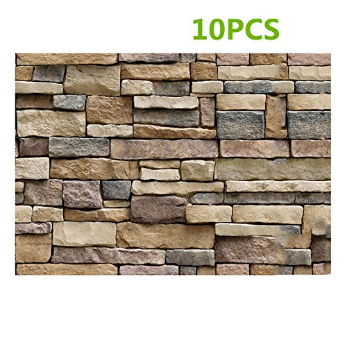 3D Wallpaper Brick Stone Background Wall Decor, Pack of 10 Self-adhesive Wall Stickers, Simulation Vein Rock Stone Pattern Brick Wall Paper 45x100 cm /17.72x39.37 inch
