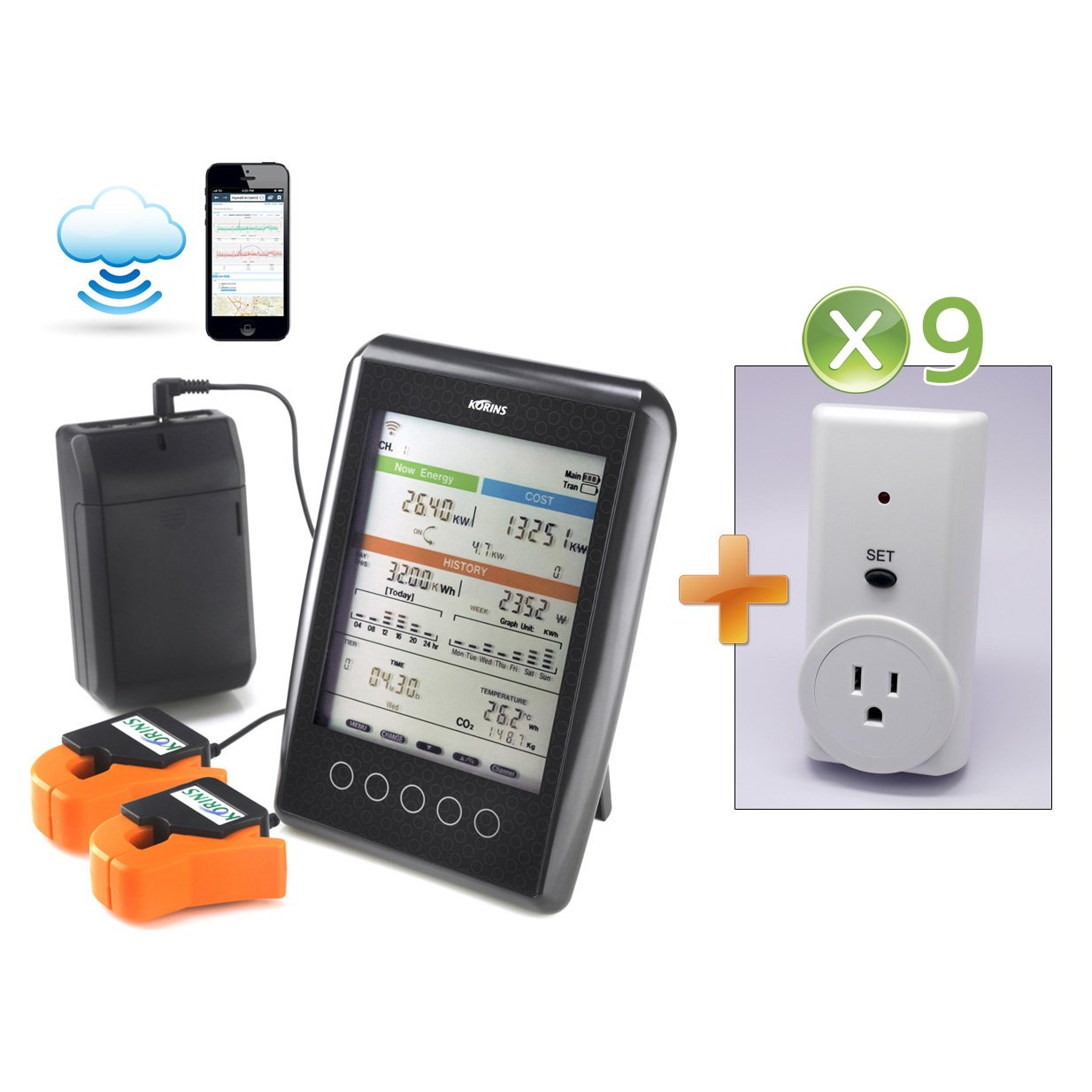 Korins MyWatt 10ch. Wireless Electricity Monitor with Cloud Service, SEM3110B9 for USA