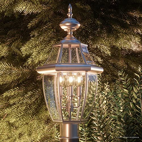 Luxury Colonial Outdoor Post Light, Large Size 23 H x 12.5 W, with Tudor Style Elements, Versatile Design, Classy Aged Silver Finish and Beveled Glass, UQL1151 by Urban Ambiance