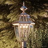 Luxury Colonial Outdoor Post Light, Large Size: 23''H x 12.5''W, with Tudor Style Elements, Versatile Design, Classy Aged Silver Finish and Beveled Glass, UQL1151 by Urban Ambiance