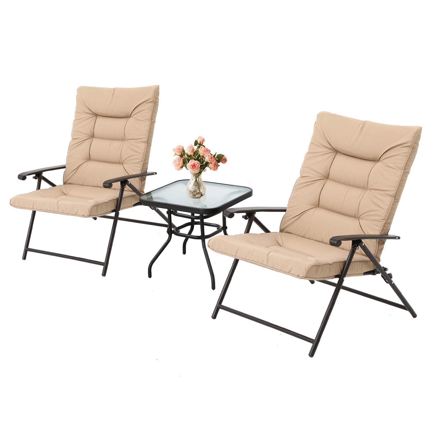 OUTROAD 3-Piece Patio Padded Folding Chair Set Outdoor Adjustable Reclining Furniture Metal Sling Chair w/Coffee Table, Beige