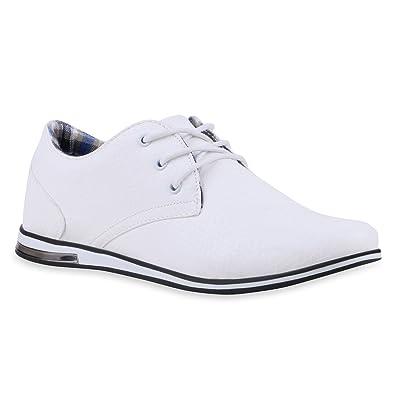 Modische Herren Business Schnürer Halb Sneakers Prints Leder-Optik Freizeit  Schuhe 120052 Weiss 40 Flandell cbca1e8107