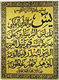 Wooden Engraved Framed with Shiny Glitter Islamic Islam Arabic Quran Koran Wall Hanging Frame Mosque Home Decor Surah Allah 16'' X 12'' Calligraphy (501) (MODEL #1)