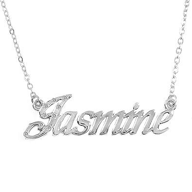 6af5df4e0f1d7 Amazon.com: Zacria Jasmine Personalized Name Necklace Customized 18K ...