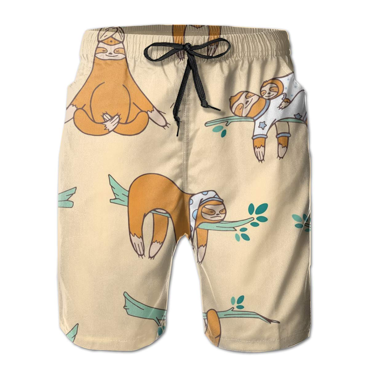 SARA NELL Mens Shorts Cute Sloths Sleeping Quick Dry Swim Trunks Beach Board Shorts White