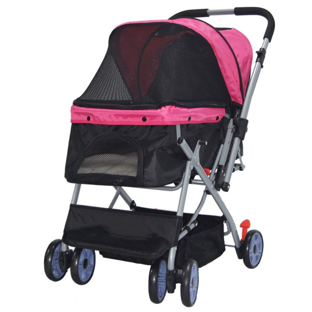 PINK Lightweight Folding Pet Stroller, Dog Cat Four-Wheeled Pet Stroller, Collapsible Pet Car (color   Pink)