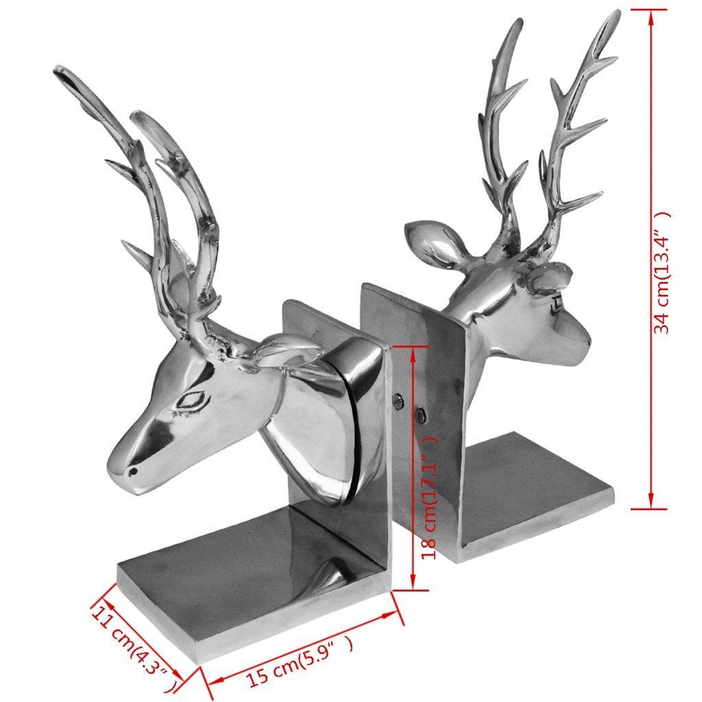 Festnight 2 pi/èces D/écoration Serre-Livres cerf pour Salon en Aluminium Argent/é 15 x 11 x 34 cm