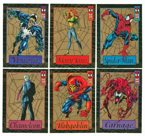 (Spiderman 1994 Gold Web Complete Set of 6 Rare Gold Foil Chase Cards From 1994 Fleer Spiderman Jumbo Packs. Includes # 1 of 6 - Venom 2 of 6 - Mary Jane 3 of 6 - Spider-man 4 of 6 - Chameleon 5 of 6 - Hobogoblin 6 of 6 - Carnage )