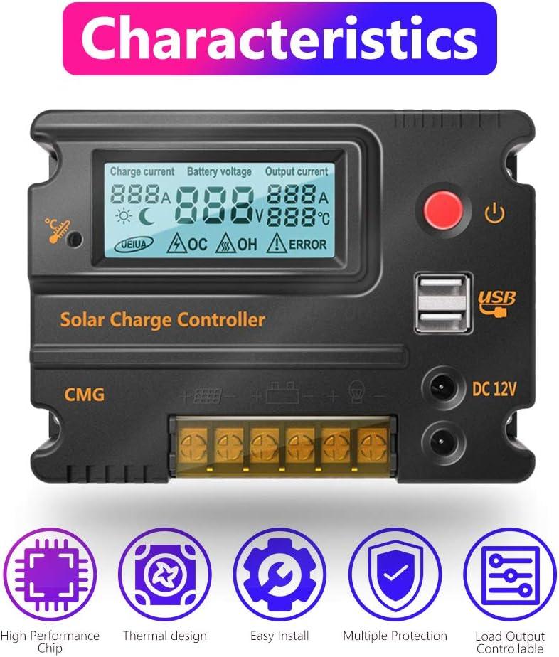 Fuhuihe 10A Solar Charge Controller Solar Panel Battery Intelligent Regulator USB Port Display 12V//24V