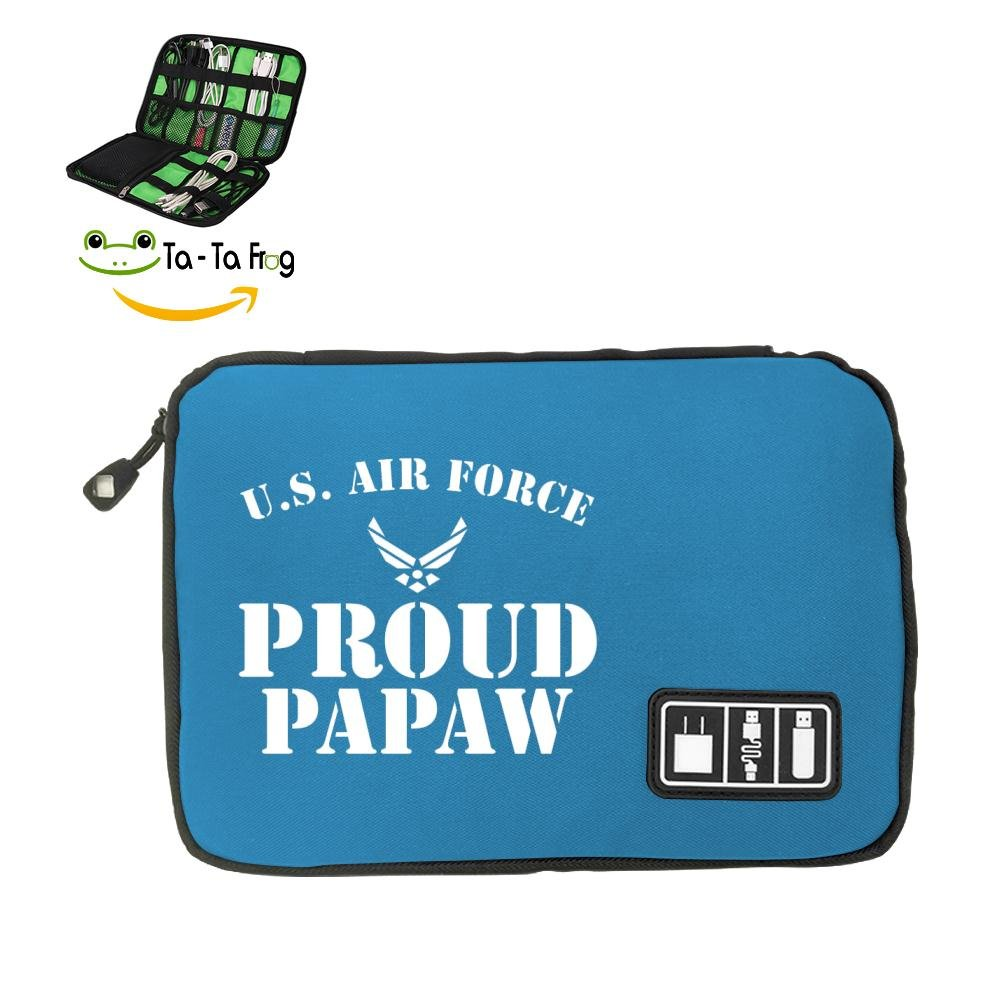 6Dian U.S. Air Force Electronics Cable Organizer Bag for Hard Drives, Cables, Charger Blue