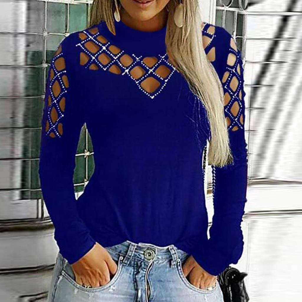 Pinkpaopao Womens Plus Size Top Solid Long Sleeve Glittery Rhinestone Hollow-Out Casual Top Blouse