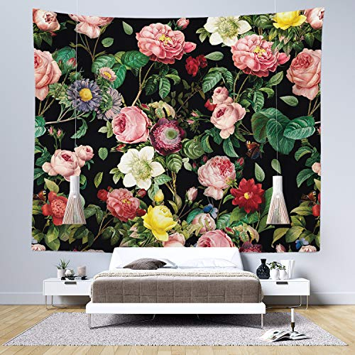 Floral Tapestry Wall Hanging - Rose Garden Wall Tapestry - Bright Pink, Yellow, White and Red Flowers on Black - Living Room Decor & Home Wall Art - Large Tapestries for Bedroom & Dorm Decoration from Sirius Wall Decor