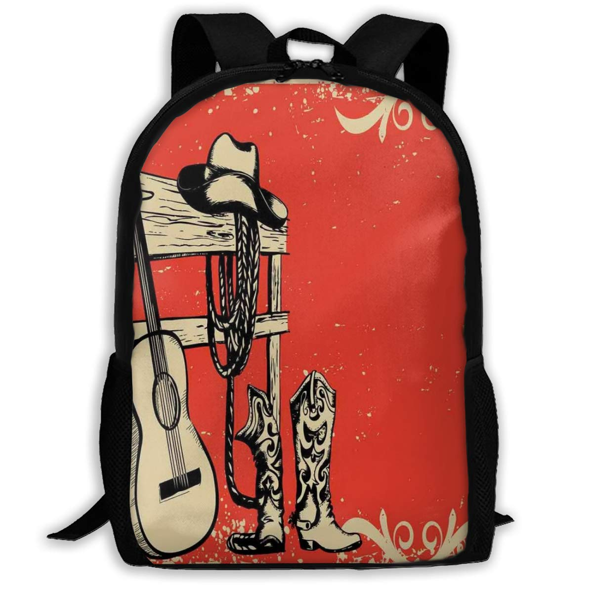 Adult Travelc Laptop Backpack,Image Of Wild West Elements With Country Music Guitar And Cowboy Boots Retro Art,College School Computer Bookbag by GULTMEE