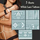 TAFLY Sexy White Tattoos Lace Bracelets,Necklace Jewelry Henna Body Art Stickers Temporary Tattoos for Women 5 Sheets