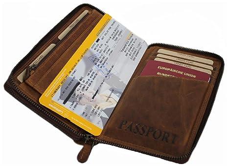 Cartera de piel grande para hombre y mujer, con protección RFID, organizador para viajes