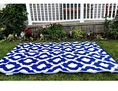 Garden and Outdoor BalajeesUSA Outdoor Patio Rugs clearance 5'x7′ (152 cm x 214 cm) Blue n White 4477 outdoor rugs